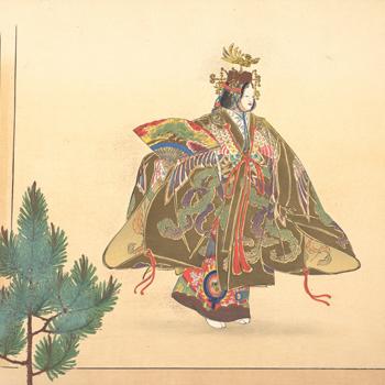 Illustration d'une scène de danse de nô, par Tsukioka Kōgyo, vers 1910. Source : Metropolitan Museum of Arts/CC0