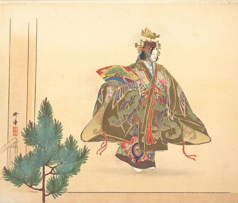 Illustration d'une scène de danse de nô, par Tsukioka Kōgyo, vers 1910. Source : Metropolitan Museum of Arts / CC0