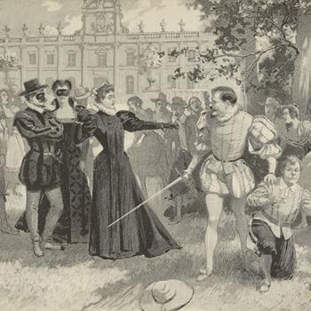 Don Giovanni, opéra de Mozart, dessin de A. de Parys, Paris, Théâtre de l'Opéra Comique, 1896. Source : Gallica-BnF
