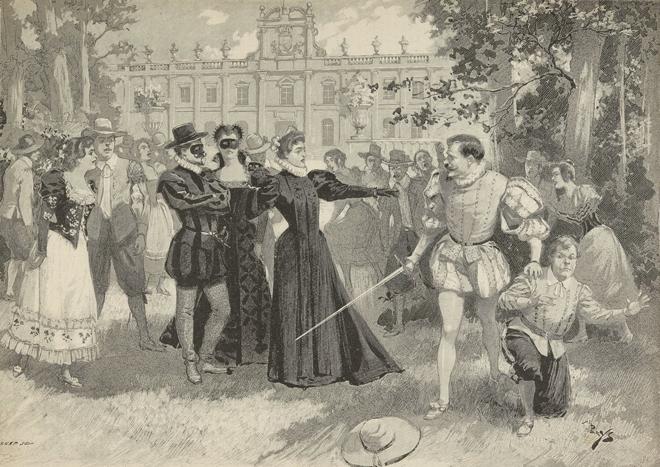 Don Giovanni, opéra de Mozart, dessin de A. de Parys, Paris, Théâtre de l'Opéra Comique, 1896. Source: Gallica-BnF