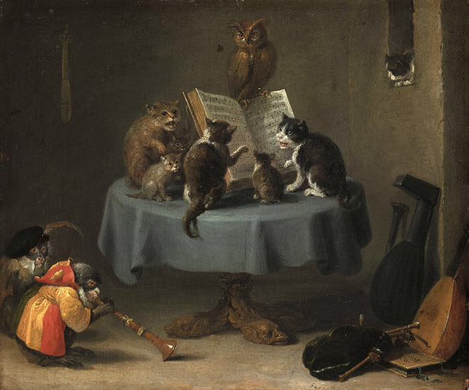 Concert de chats, de David Teniers, XVIIe siècle. Source: Bayerische Staatsgemäldesammlungen - Staatsgalerie Neuburg/CC BY-SA