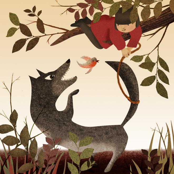 Pierre et le Loup. Illustration: Sandrine Kao