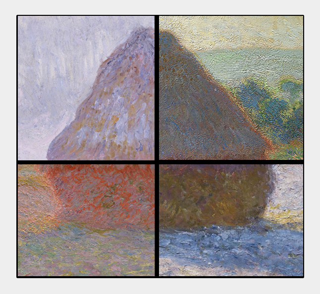 D'après la Série des meules de Claude Monet, 1891. Sources : National Gallery (Australie) - Museum of Fine Arts (Boston) - Metropolitan Museum