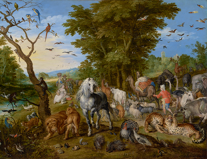 L'entrée des animaux dans l'arche de Noé de Jan Brueghel l'ancien, 1613, The J. Paul Getty Museum (Los Angeles)