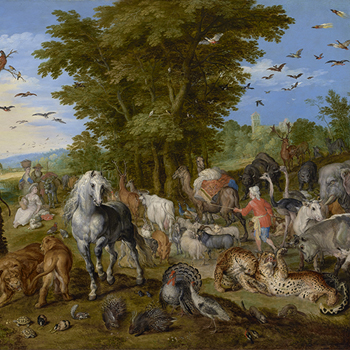 L'entrée des animaux dans l'arche de Noé, de Jan Brueghel l'ancien, 1613, The J. Paul Getty Museum (Los Angeles)