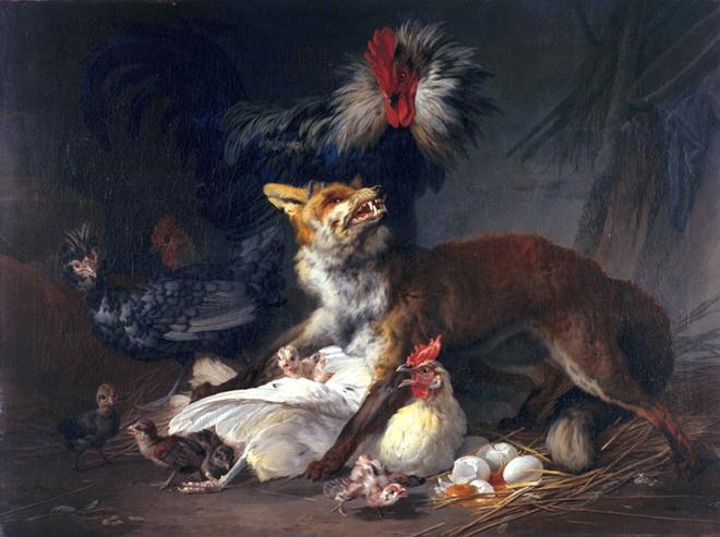 Renard au milieu des poules, Jean-Baptiste Huet, 1766. Fine Arts Museums of San Francisco