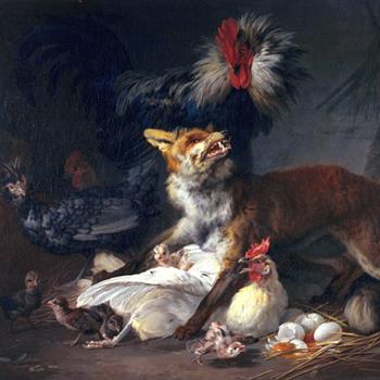 Renard au milieu des poules, de Jean-Baptiste Huet, 1766, Fine Arts Museums of San Francisco