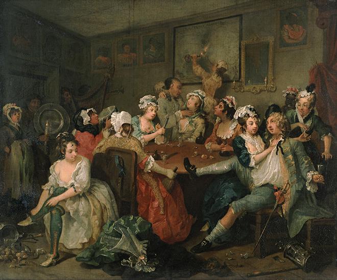 7- <cite>A Rake's Progress, III: The Orgy</cite>, peinture à l'huile de William Hogarth, 1734<br>Sir John Soane's Museum, London