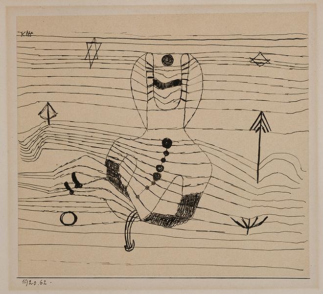11- <cite>Cavalier désarçonné et ensorcelé</cite>, dessin de Paul Klee, 1920<br>The Berggruen Klee Collection, Met Museum/CC0
