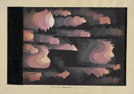 12- <cite>Fugue en rouge</cite>, aquarelle et crayon sur papier de Paul Klee, 1921<br>Suisse, collection particulière, en dépôt au Zentrum Paul Klee, Berne
