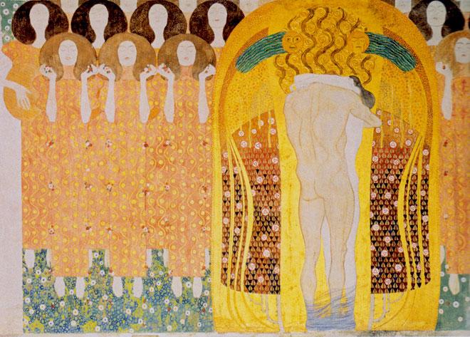 9- <cite>L'Hymne à la joie, détail de la Frise Beethoven</cite> par Gustav Klimt, 1902<br>Palais de la Sécession, Vienne