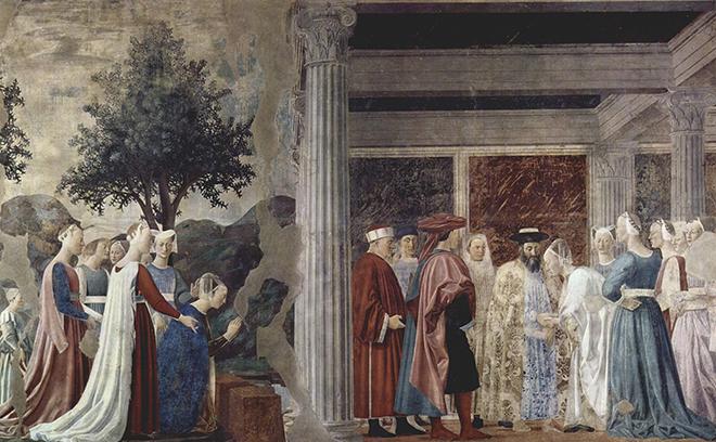 6- <cite>La Légende de la Vraie Croix, La rencontre de la reine de Saba et du roi Salomon</cite><br>fresque de Piero della Francesca, entre 1452 et 1466. Basilique San Francesco d'Arezzo
