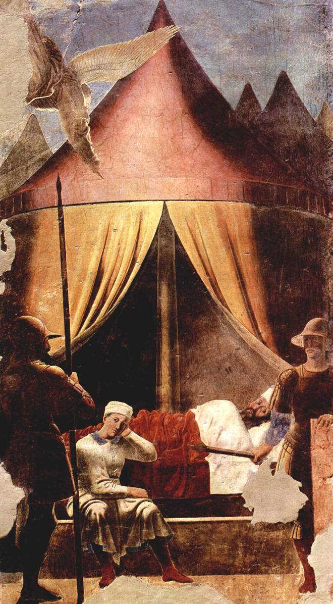 5- <cite>La Légende de la Vraie Croix, Le Rêve de l'empereur Constantin</cite><br> fresque de Piero della Francesca, entre 1452 et 1466. Basilique San Francesco d'Arezzo