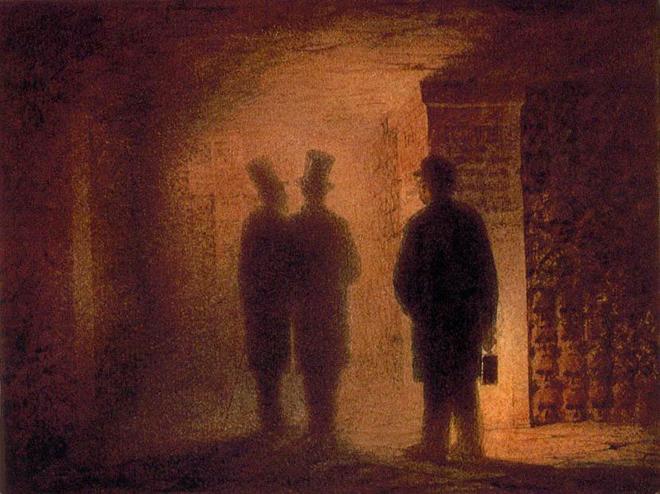 Les Catacombes de Paris, aquarelle de Viktor Hartmann. Musée Russe, Saint-Pétersbourg.