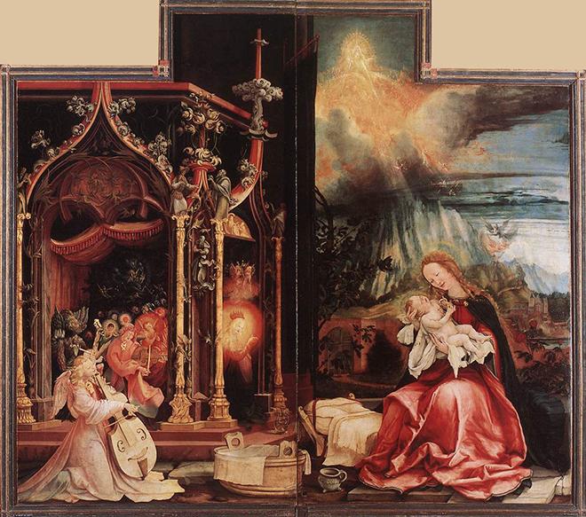 3- <cite>Retable d'Issenheim, Concert des anges et Nativité</cite><br> huile sur panneau de bois de Matthias Grünewald, vers 1515. Musée d'Unterlinden