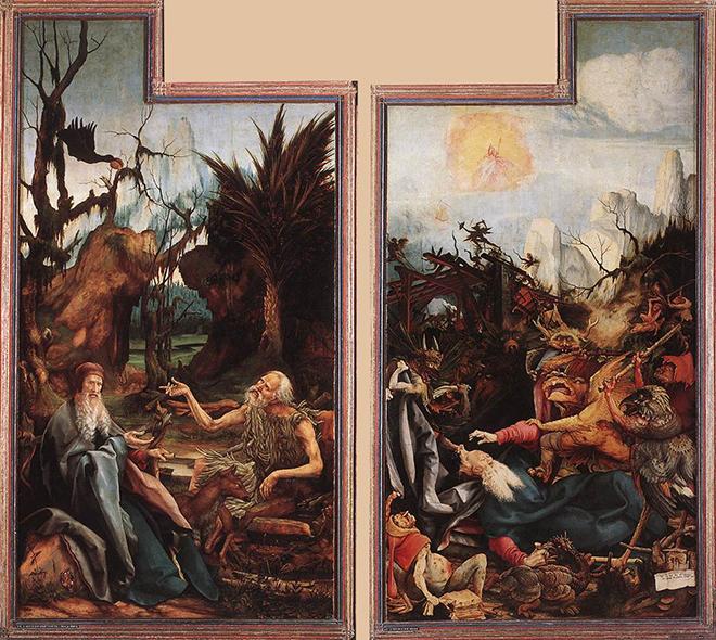 4- <cite>Retable d'Issenheim, Visite de saint Antoine à saint Paul et Tentation de saint Antoine</cite><br>huile sur panneau de bois de Matthias Grünewald, vers 1515. Musée d'Unterlinden