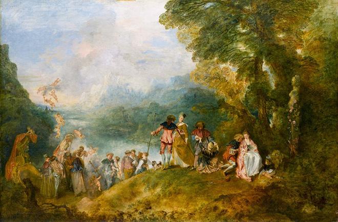 2- <cite>Pèlerinage à l'île de Cythère</cite>, huile sur toile de Jean-Antoine Watteau, 1717<br>RMN-Grand Palais (Musée du Louvre), photo de Stéphane Maréchalle
