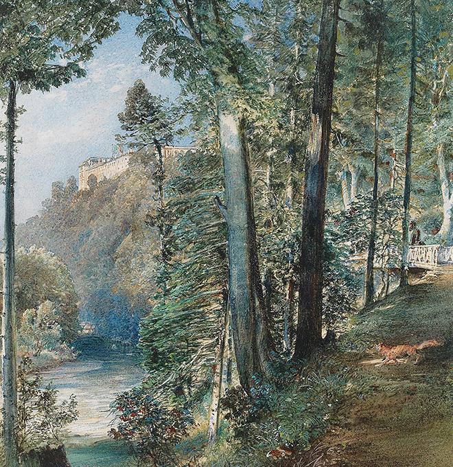 Château de Grätz, aquarelle de Rudolf von Alt, 1850