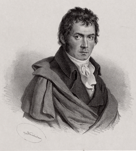 Portrait de Beethoven, lithographie de Josef Kriehuber d'après une peinture originale de 1798. Österreichische Nationalbibliothek