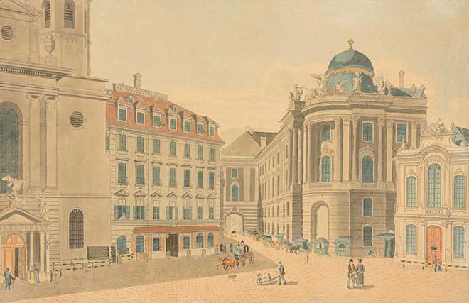 Vienne, la Michaelerplatz, gravure de Carl Schütz, fin XVIIIe siècle
