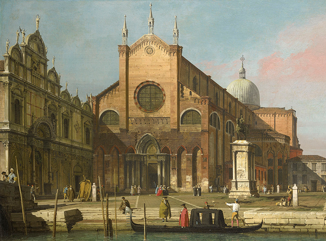 Campo santi Giovanni e Paolo à Venise, peinture de Canaletto, 1736-1740. Royal Collection Trust