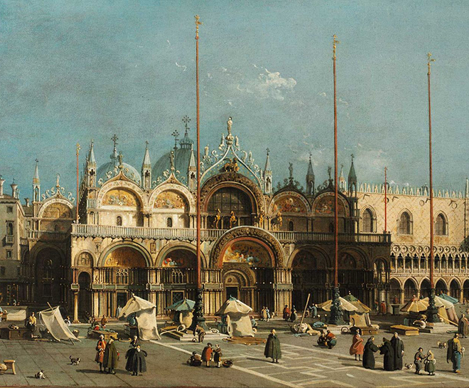Place Saint-Marc, peinture de Canaletto, 1740-1750. Musée d'Art contemporain de Rolandseck, CC-PD