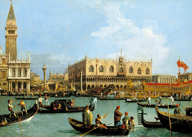 Venise, le Bucentaure de San Marco le jour de l'Ascension, peinture de Canaletto, 1733-1734, Royal Collection, Buckingham Palace