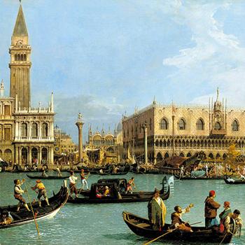 Venise, le Bucentaure de San Marco le jour de l'Ascension, peinture de Canaletto, 1733-1734. Royal Collection, Buckingham Palace
