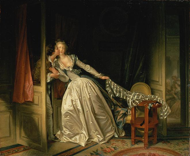Le Baiser volé, peinture de Jean-Honoré Fragonard, fin des années 1780. Musée de l'Ermitage CC-PD