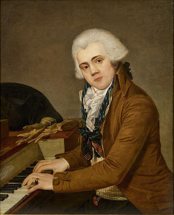 Portrait de pianiste avec piano carré Erard Frères, fin XVIIIe siècle. Philharmonide de Paris - Musée de la musique, photo de Claude Germain