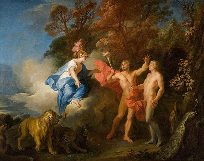 La Formation de l'homme par Prométhée aidé de Minerve, peinture de Louis de Silvestre, 1702. Musée Fabre