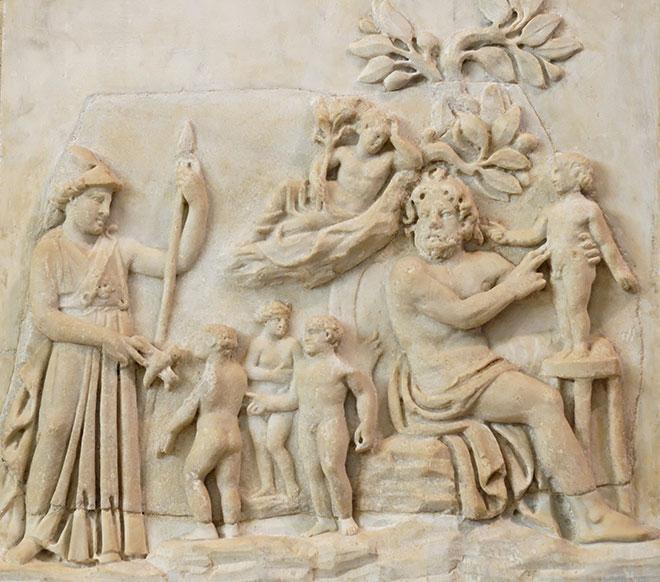 [3] <cite>Création de l'homme par Prométhée</cite>, bas-relief en marbre, III<sup>e</sup> siècle<br>Musée du Louvre