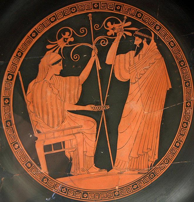 [2] <cite>Héra et Prométhée</cite>, peinture de Douris, médaillon d'un kylix à figures rouges, 490-480 av. J.-C.<br>Département des monnaies, médailles et antiques de la BnF