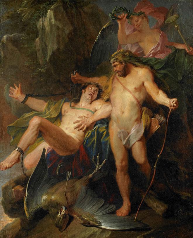[24] <cite>Hercule délivrant Prométhée</cite>, peinture de Nicolas Bertin, 1703<br>Birmingham Museum of Art