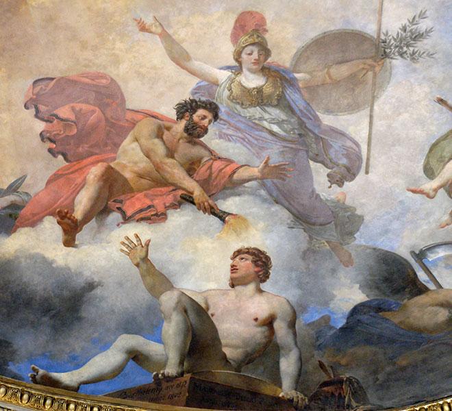 [17] <cite>L'Homme formé par Prométhée et animé par Minerve</cite>, peinture de Jean-Simon Berthélemy / Jean-Baptiste Mauzaisse, 1802/1826<br>Musée du Louvre, plafond de la rotonde Mars