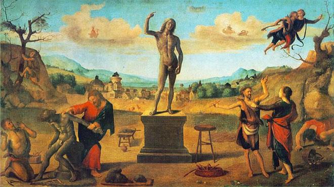 [6] <cite>Prométhée créant l'homme</cite>, peinture de Piero di Cosimo, 1515<br>Alte Pinakothek CC BY-SA