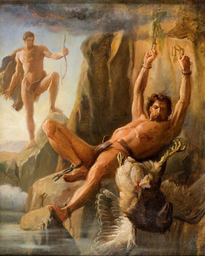 [25] <cite>La Libération de Prométhée</cite>, peinture de Carl Bloch, 1864<br>Ribe Kunstmuseum, Danemark