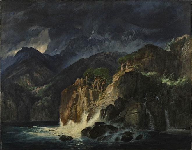 [21] <cite>Paysage de Prométhée</cite>, peinture de Arnold Böcklin, 1885<br>Hessisches Landesmuseum Darmstadt