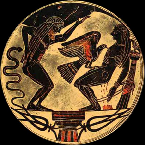 [1] <cite>Prométhée enchaîné à l'aigle</cite> (à gauche son frère Atlas), céramique à figures noires, 560-550 av. J.-C.<br>Musée du Vatican