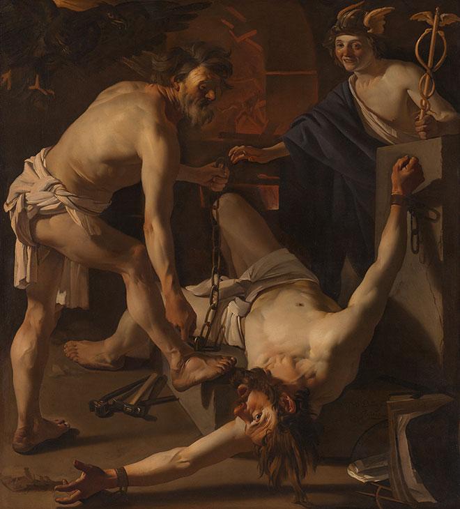 [26] <cite>Prométhée enchaîné par Vulcain, peinture de Dirck van Baburen, 1623<br>Rijksmuseum, Amsterdam