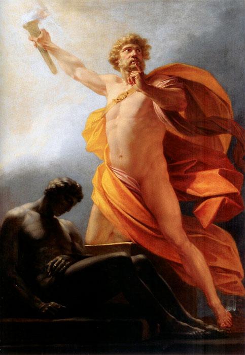 [16] <cite>Prométhée fait don du feu à l'humanité</cite>, peinture de Heinrich Füger, vers 1817<br>Palais du Lichenchstein