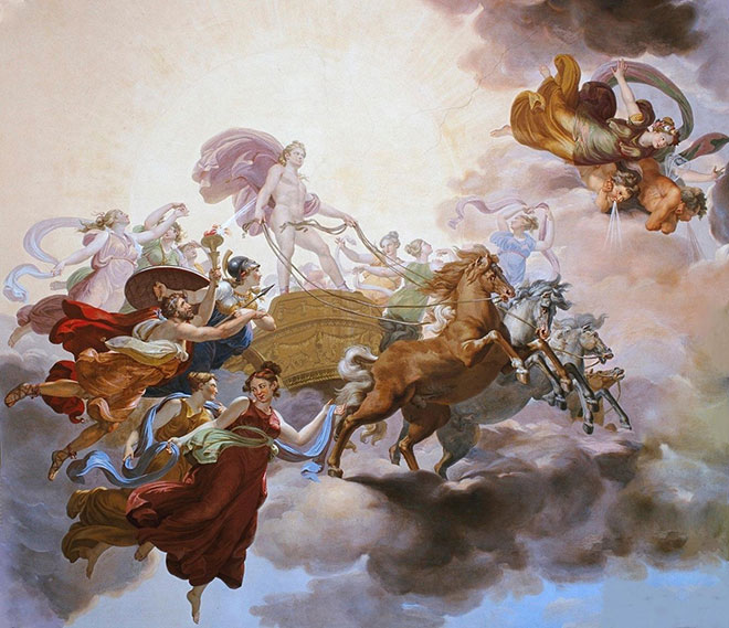 [14] <cite>Prométhée vole le feu du chariot d'Apollon</cite>, peinture de Giuseppe Collignon, 1814<br>Palazzo Pitti