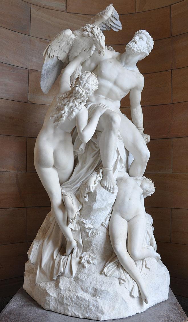 [29] <cite>Prométhée pleuré par les océanides</cite>, sculpture de Eduard Müller, 1868<br>Alte Nationalgalerie Berlin