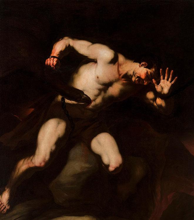 [12] <cite>Prométhée</cite>, peinture de Luca Giordano, deuxième moitié du XVII<sup>e</sup> siècle<br>National Museum in Warsaw