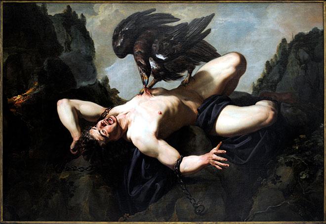 [9] <cite>Prométhée</cite>, peinture de Theodoor Rombouts, XVII<sup>e</sup> siècle<br>Musées royaux des beaux-arts de Belgique, Bruxelles