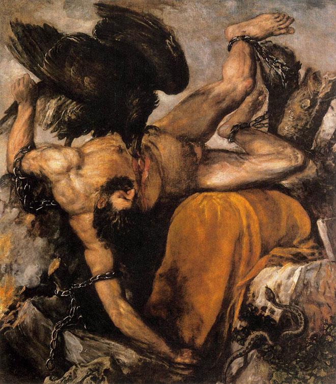 [7] <cite>Le Supplice de Prométhée</cite>, peinture de Tiziano Vecellio (Titien), 1565<br>Museo del Prado