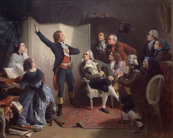 Rouget de Lisle chantant La Marseillaise pour la première fois, peinture d'Isidore Pils, 1849. Musée historique de Strasbourg