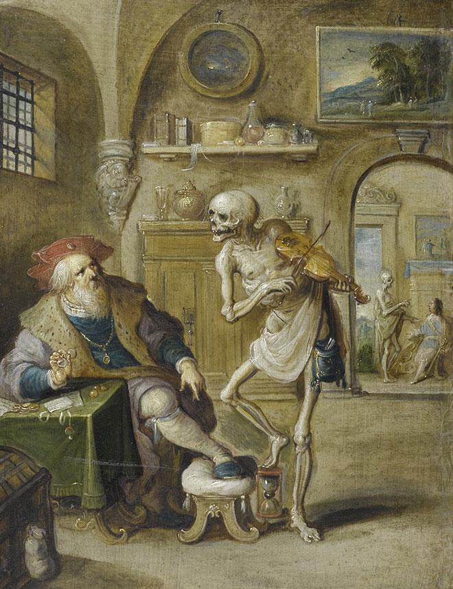 La Mort jouant du violon, peinture de Frans Francken le jeune, vers 1625. Musée de l'Ermitage