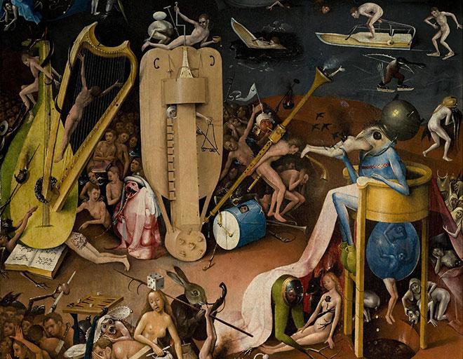 Le Jardin des délices : L'Enfer (détail), peinture de Jérôme Bosch, entre 1480 et 1490. Museo del Prado