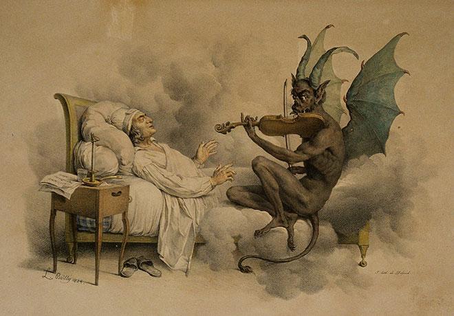 Le Songe de Tartini, lithographie de François-Séraphin Delpech, 1824. Musée de la musique - Philharmonie de Paris, photo de Jean-Marc Anglès